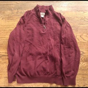 LL Bean Red Quarter Zip Sweater